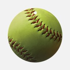 Yellow Softball Ornament (Round)