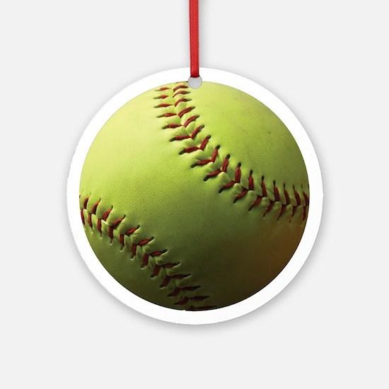 Yellow Softball Ornament (Round)