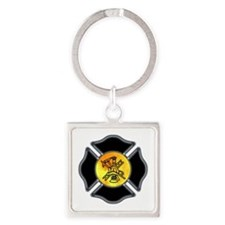Firefighter Logo Square Keychain
