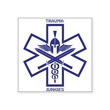 """Trauma Junkies Star of Life Square Sticker 3"""" x 3"""""""