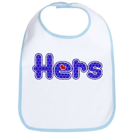"Purple ""Hers"" with red heart Bib"