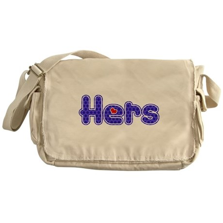 """Purple """"Hers"""" with red heart Messenger Bag"""