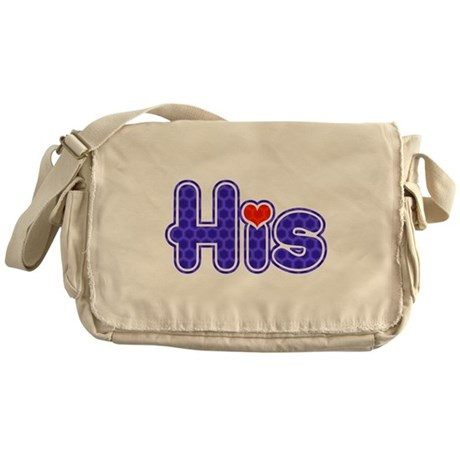 "Purple ""His"" with red heart Messenger Bag"