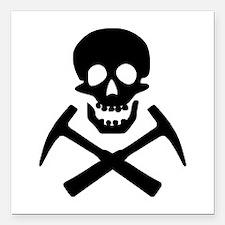 "Rockhound Skull Cross Picks Square Car Magnet 3"" x"