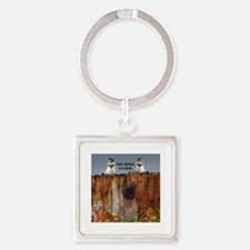 Cairn Terrier Squirrels Square Keychain