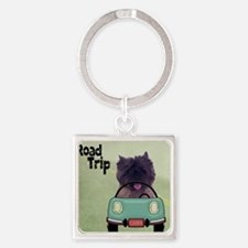 Cairn Terrier Road Trip Square Keychain