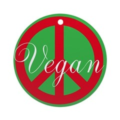 """On Sale - """"Vegan"""" Ornament with Peace Si"""