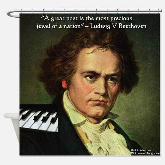 Beethoven Graphic Poetry Quote Shower Curtain