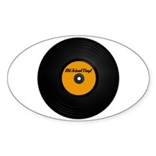Old School Vinyl Record Oval Decal