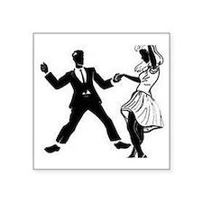 "Swing Dancers Square Sticker 3"" x 3"""