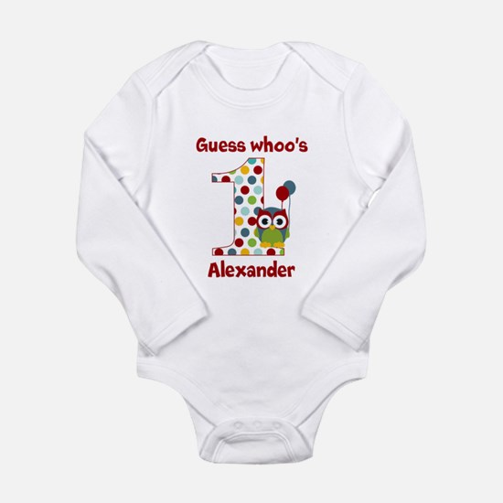 Custom guess whos 1 boy Long Sleeve Infant Bodysui