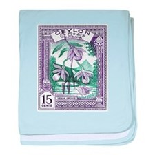 1950 Ceylon Vesak Orchid Postage Stamp baby blanke