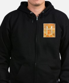 1934 Denmark National Coat of Arms Stamp Zip Hoodie