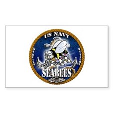 USN Navy Seabees Roped Blue Glow Decal