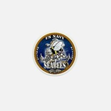 USN Navy Seabees Roped Blue Glow Mini Button