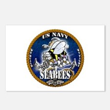 USN Navy Seabees Roped Blue Glow Postcards (Packag