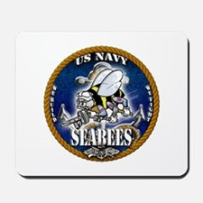 USN Navy Seabees Roped Blue Glow Mousepad