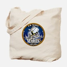 USN Navy Seabees Roped Blue Glow Tote Bag