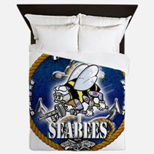 USN Navy Seabees Roped Blue Glow Queen Duvet