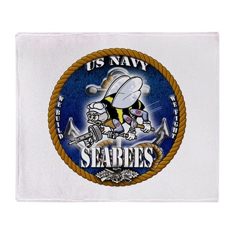 USN Navy Seabees Roped Blue Glow Throw Blanket