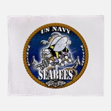 USN Navy Seabees Roped Blue Glow Throw Blanket