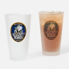 USN Navy Seabees Roped Blue Glow Drinking Glass