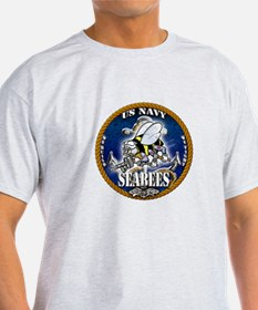 USN Navy Seabees Roped Blue Glow T-Shirt