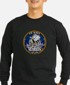 USN Navy Seabees Roped Blue Glow T