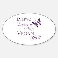 Vegan Girl Sticker (Oval)