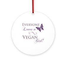 Vegan Girl Ornament (Round)