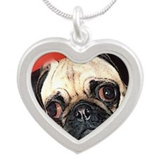 Pug Gifts 1 Silver Heart Necklace
