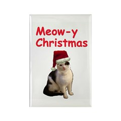 Meowy Christmas Cat Rectangle Magnet (10 pack)