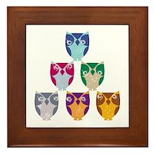Colorful Artistic Owls Art Framed Tile