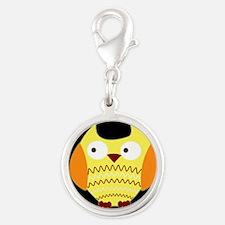 Yellow Owl Silver Round Charm