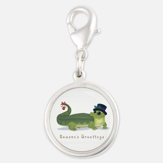Christmas Alligator Silver Round Charm