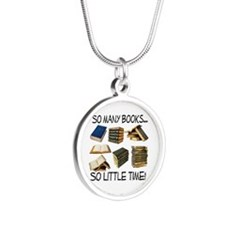 So Many Books... Silver Round Necklace