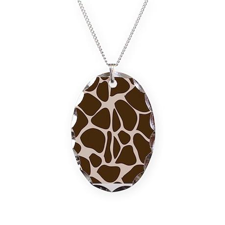 Giraffe Animal Print Pattern Necklace Oval Charm
