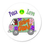 Groovy Van Round Car Magnet