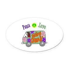 Groovy Van Oval Car Magnet