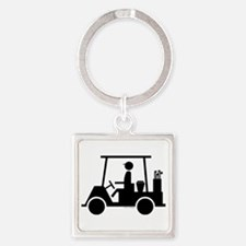 Golf Cart Icon Square Keychain