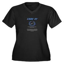 code 47 Women's Plus Size V-Neck Dark T-Shirt