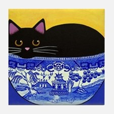 Cute Black cat in blue willow bowl Tile Coaster