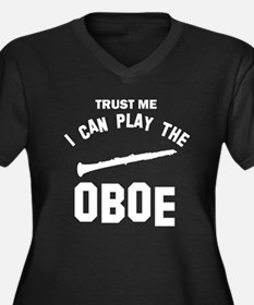 Cool Oboe designs Women's Plus Size V-Neck Dark T-