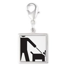 Walking the Dog Silver Square Charm
