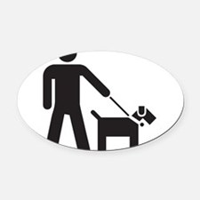 Walking the Dog Oval Car Magnet