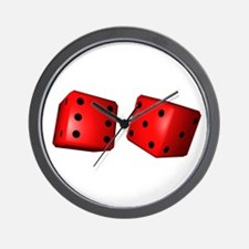 Red Dice Wall Clock
