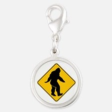 Bigfoot crossing Silver Round Charm
