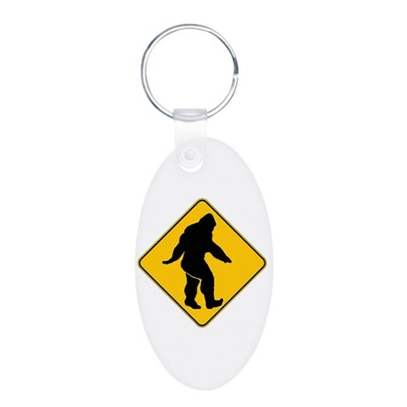Bigfoot crossing Aluminum Oval Keychain