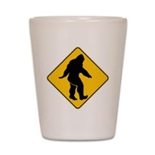 Bigfoot crossing Shot Glass