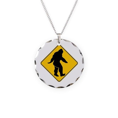 Bigfoot crossing Necklace Circle Charm